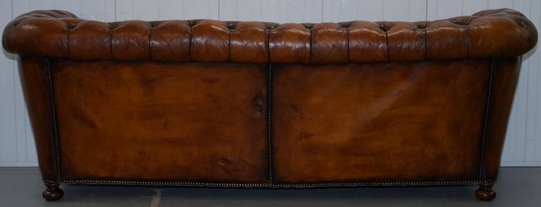 Rare Sloped Back Victorian Chesterfield Hand Dyed Brown Leather Sofa Horse Hair For Sale 12