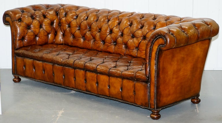 English Rare Sloped Back Victorian Chesterfield Hand Dyed Brown Leather Sofa Horse Hair For Sale