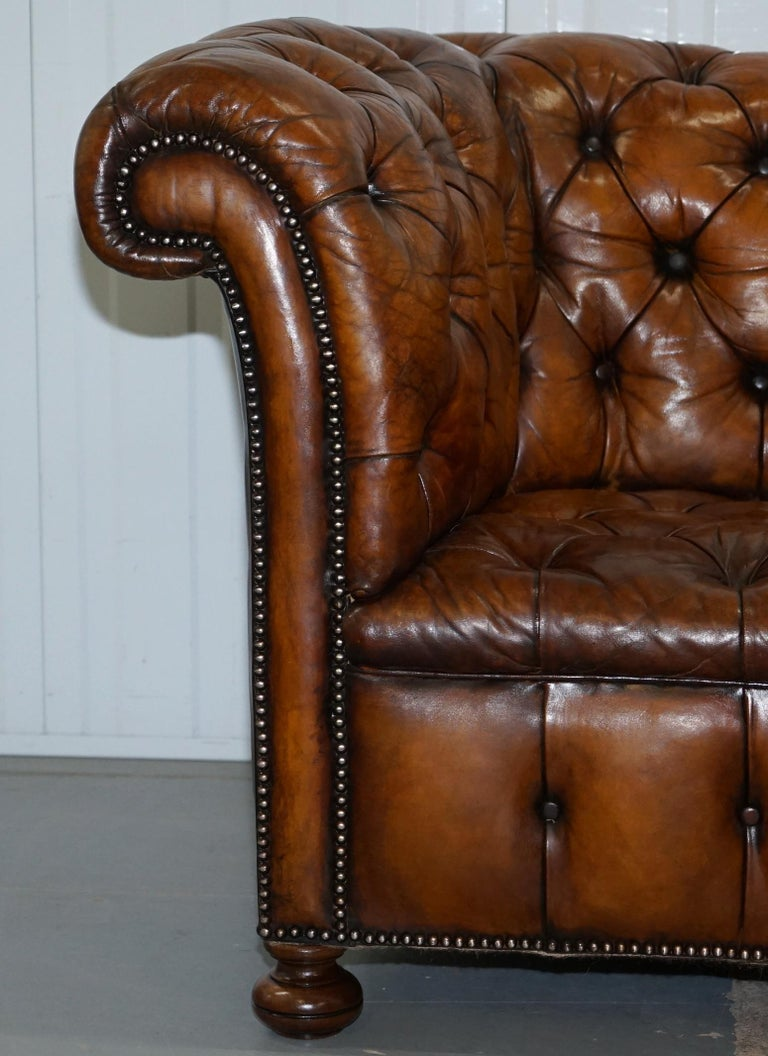 Hand-Crafted Rare Sloped Back Victorian Chesterfield Hand Dyed Brown Leather Sofa Horse Hair For Sale