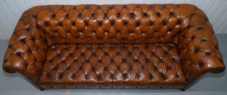 Rare Sloped Back Victorian Chesterfield Hand Dyed Brown Leather Sofa Horse Hair For Sale 1