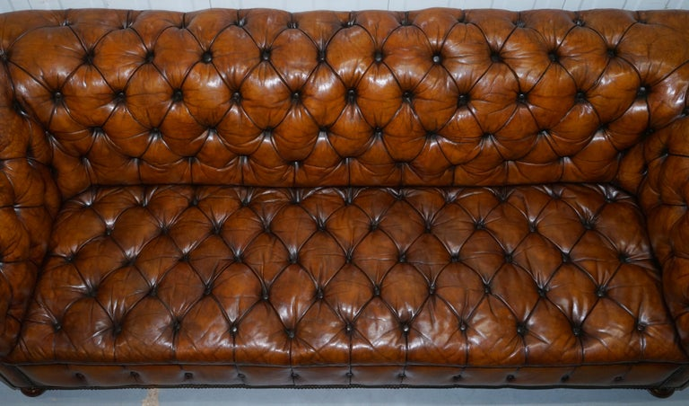 Rare Sloped Back Victorian Chesterfield Hand Dyed Brown Leather Sofa Horse Hair For Sale 2