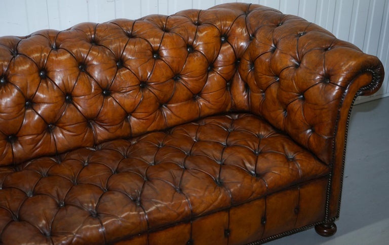 Rare Sloped Back Victorian Chesterfield Hand Dyed Brown Leather Sofa Horse Hair For Sale 3