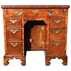 Small Rare Early 18th Century English Walnut Kneehole Desk