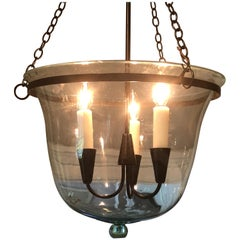 Rare Small French Green Bell Cloche Hanging Light