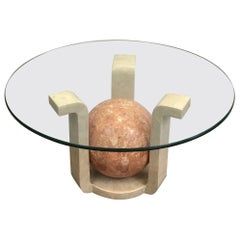 Rare Small Travertine Coffee Table with a Reddish Ball Looking like