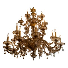 Rare Smoked Glass Handblown Murano Chandelier, Circa 1940