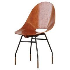 Rare Societa Compensati Curvati Chair, Italy, 1950s
