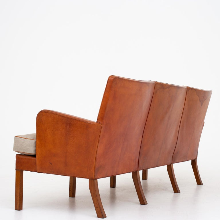 KK 5313, 3-seat sofa in Niger leather with new cushions in canvas. Design 1935. Maker Rud. Rasmussen.