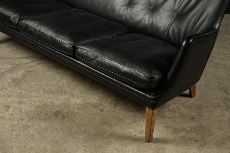 European Rare Midcentury Leather Sofa Designed by Arne Vodder, Denmark, circa 1960 For Sale