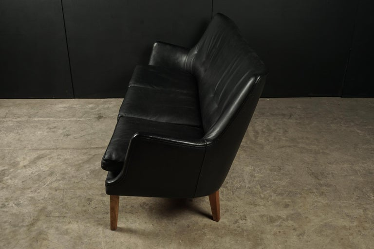 Rare Midcentury Leather Sofa Designed by Arne Vodder, Denmark, circa 1960 For Sale 1
