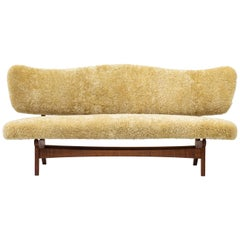 Rare Sofa in Sheep Skin by Sigurd Resell for Rastad & Relling, Norway, 1950s