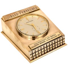 Rare Solid Brass Case Table/Desk Electromechanical Clock by Girard Perregaux