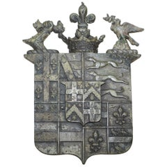 Rare Solid Bronze Armorial Crest Coat of Arms Lovely Verdigris Patination