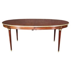 Rare Solid Mahogany Signed Maison Jansen Louis XVI Bronze Ormolu Dining Table