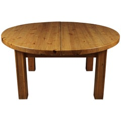 Rare Solid Pine Dining Table from Sweden, circa 1970