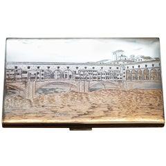 Rare Solid Silver Giovannoni Signed Cigarette Case with Italian Scene Engraved