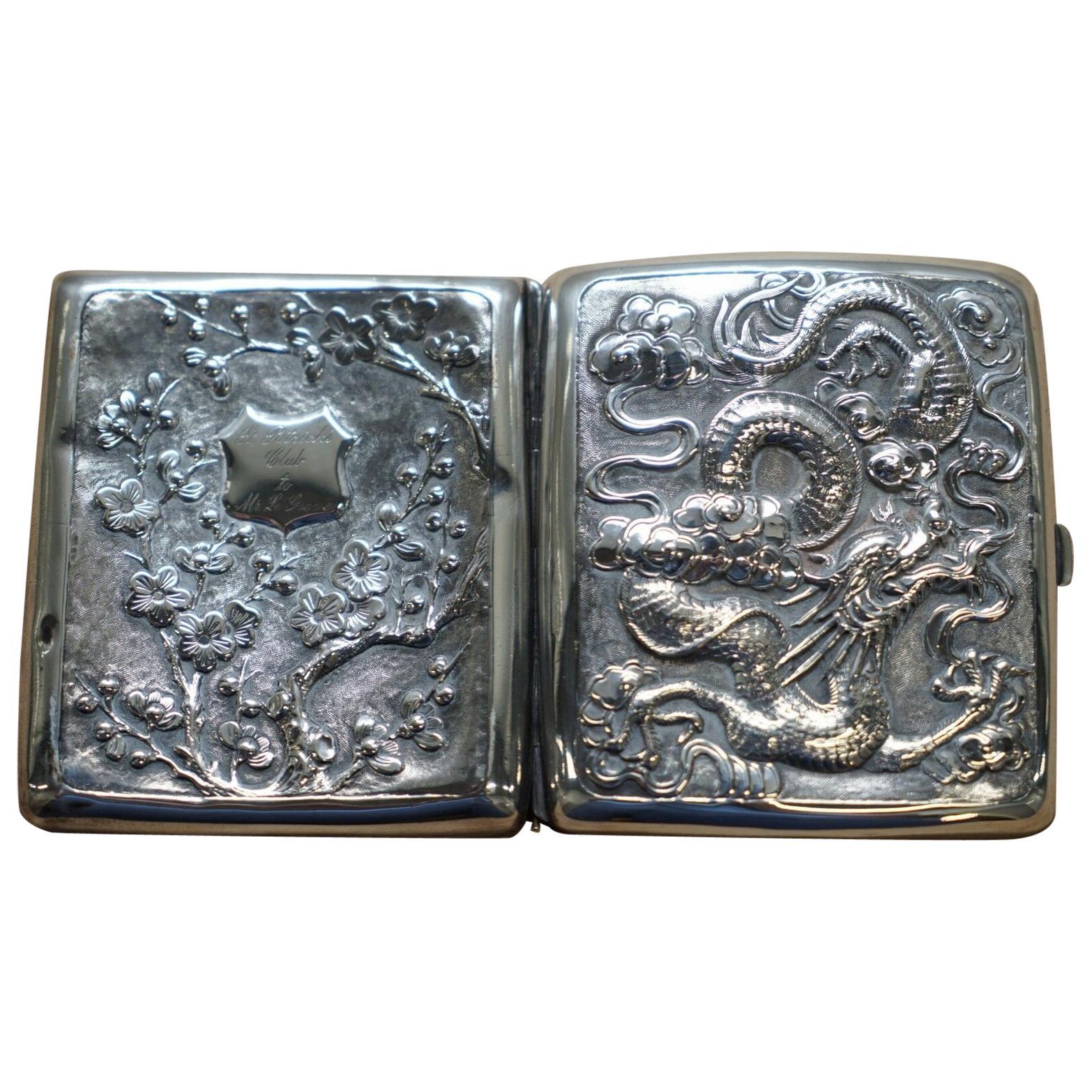 Rare Solid Silver Meiji Period Dragon Embossed Cigarette Case and Gold Gilding