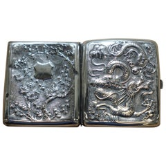 Rare Solid Silver Meiji Period Dragon Embossed Cigarette Case and Gold Gilding