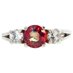 Gemjunky Rare Fiery Songea Sapphire and White Sapphire Sterling Silver Ring