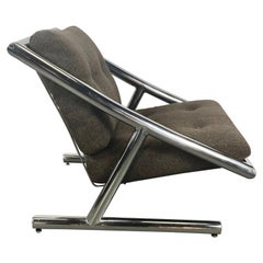 Rare Space Age, Modernist Chromed Steel Lounge Chair by Plato Ginello, Italy