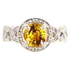 Gemjunky Brilliantly Sparkling 1.3 Ct Canary Yellow Spinel & Diamond Ring