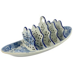 Rare Spode Pearlware Toast Rack, Willow Pattern, circa 1820