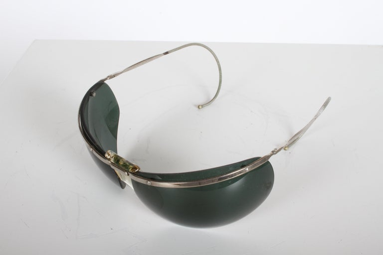 Metal Rare Sport Wraparound 1960s Vintage Sunglasses by Sol-Amor France, Green Lenses For Sale