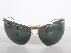 RARE Sport Wraparound 60's Vintage Sunglasses by Sol-Amor France - Green Lenses