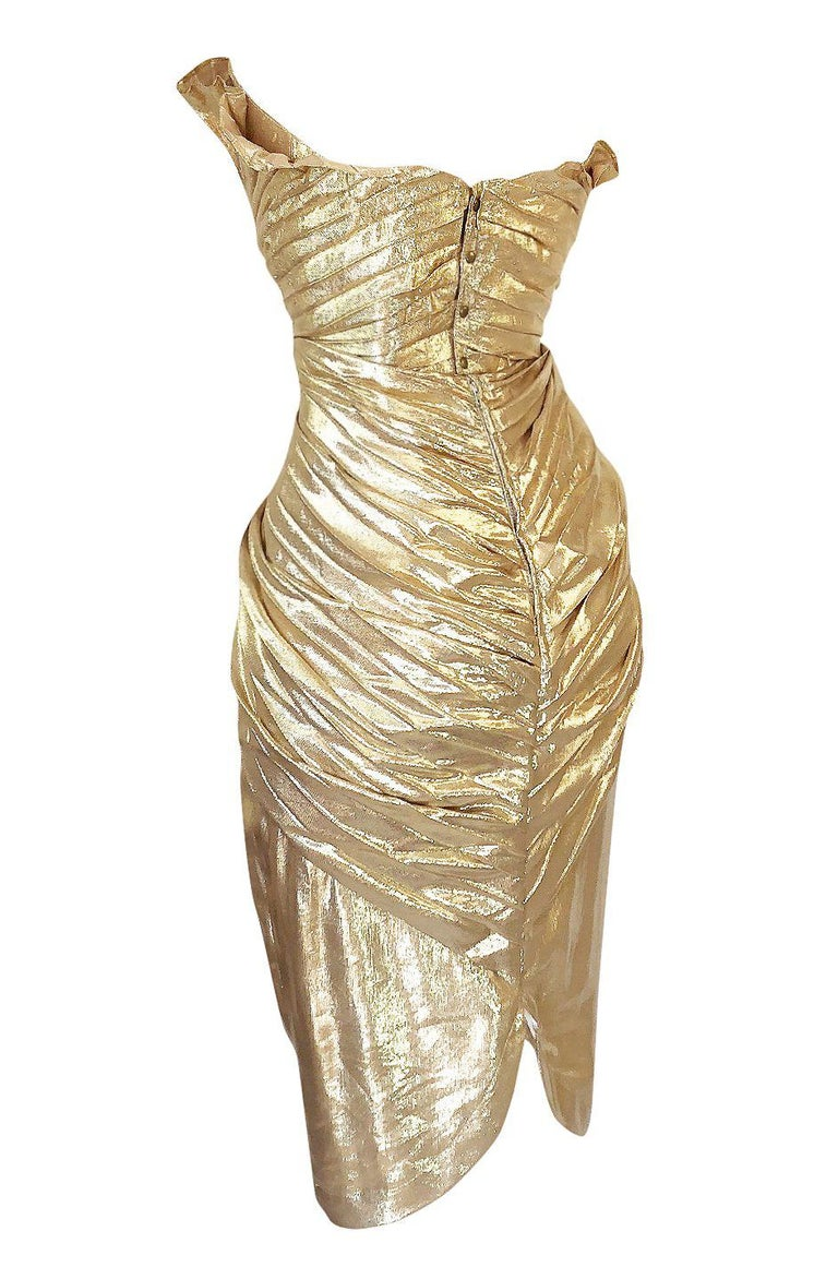 Rare Spring 1985 Thierry Mugler Bombshell Pleated Gold Lurex 'Shell' Dress For Sale 1