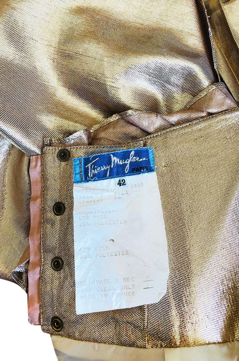 Rare Spring 1985 Thierry Mugler Bombshell Pleated Gold Lurex 'Shell' Dress For Sale 5