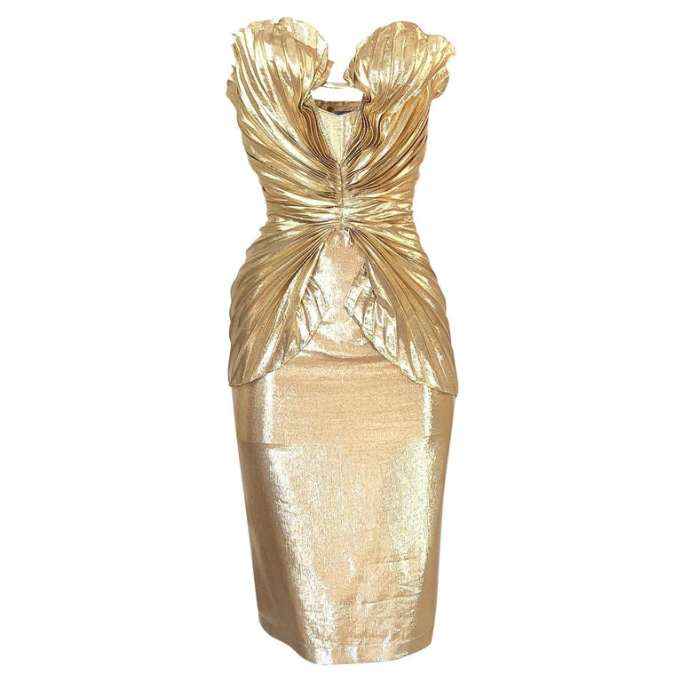 Rare Spring 1985 Thierry Mugler Bombshell Pleated Gold Lurex 'Shell' Dress For Sale