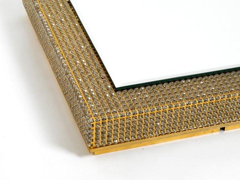 Rare Square 1960s Brass Wall Backlit Mirror, Frame with Glass Beads by Palwa For Sale 8