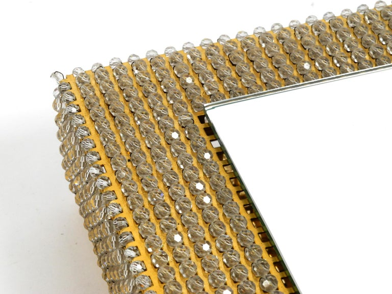 Rare Square 1960s Brass Wall Backlit Mirror, Frame with Glass Beads by Palwa For Sale 9