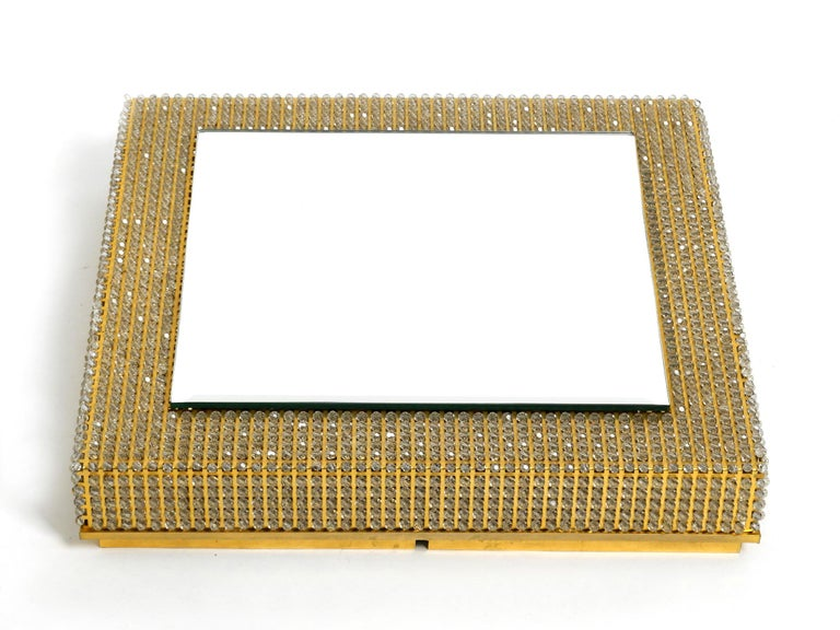 German Rare Square 1960s Brass Wall Backlit Mirror, Frame with Glass Beads by Palwa For Sale