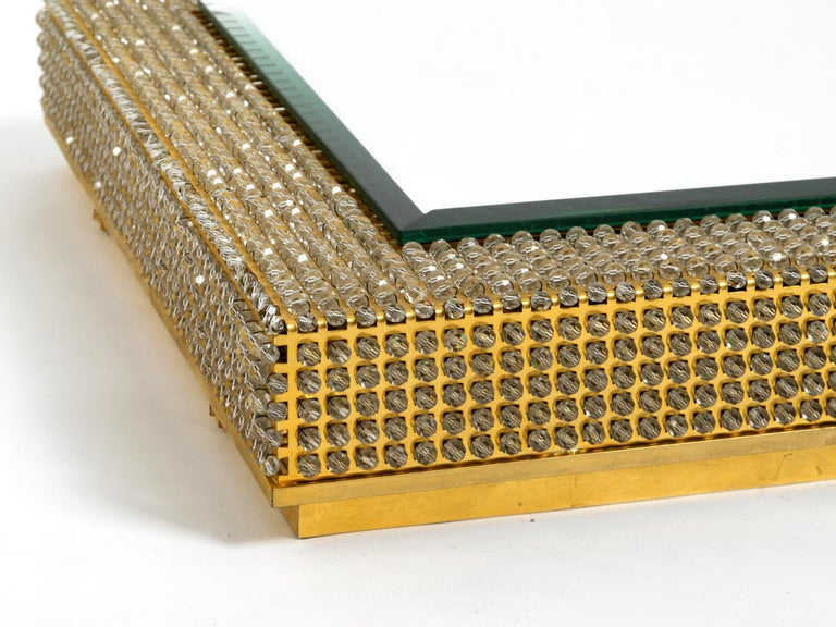 Rare Square 1960s Brass Wall Backlit Mirror, Frame with Glass Beads by Palwa In Good Condition For Sale In München, DE
