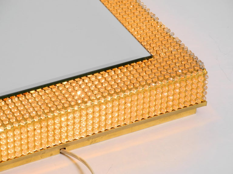 Rare Square 1960s Brass Wall Backlit Mirror, Frame with Glass Beads by Palwa For Sale 1