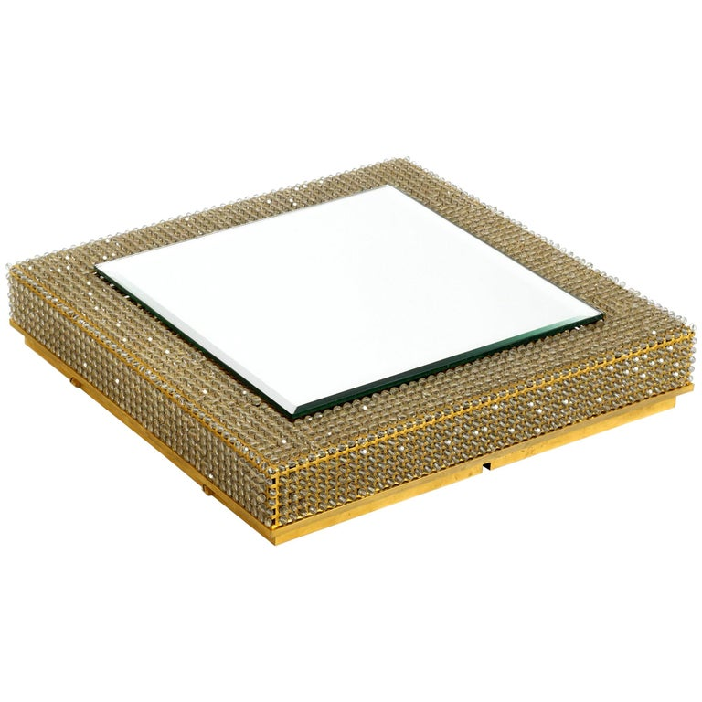 Rare Square 1960s Brass Wall Backlit Mirror, Frame with Glass Beads by Palwa For Sale