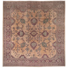 Square Antique Turkish Oushak Carpet