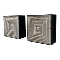Rare Square Shape Black and White Metal Pair of Sconces by Staff Leuchten, 1960s