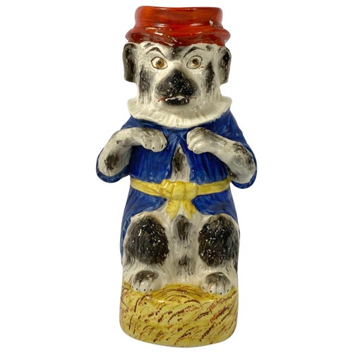 Rare Staffordshire Mr Punch's Dog 'Toby' Jug, circa 1860