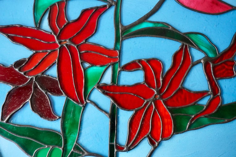 Rare Stained Glass Window Panel with Red Flowers For Sale 5