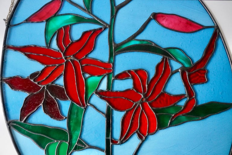 Rare Stained Glass Window Panel with Red Flowers For Sale 6