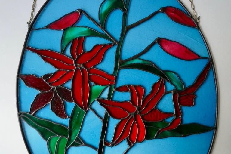 Rare Stained Glass Window Panel with Red Flowers For Sale 7