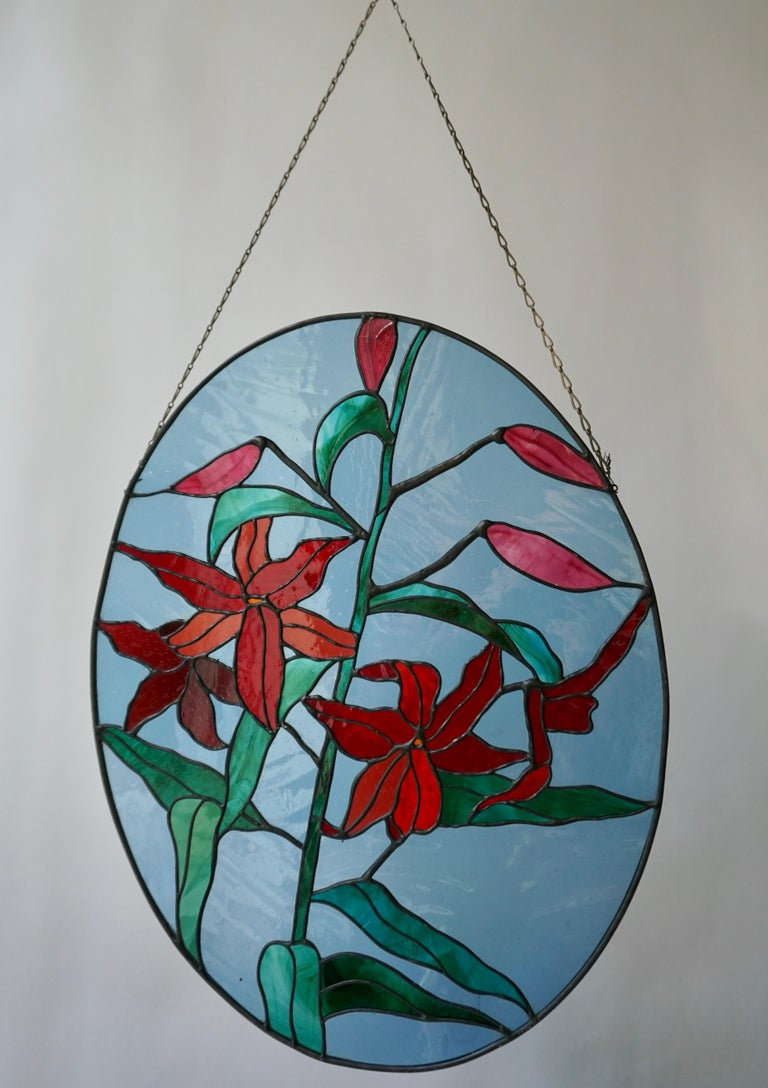 Hollywood Regency Rare Stained Glass Window Panel with Red Flowers For Sale