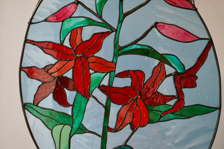 Belgian Rare Stained Glass Window Panel with Red Flowers For Sale