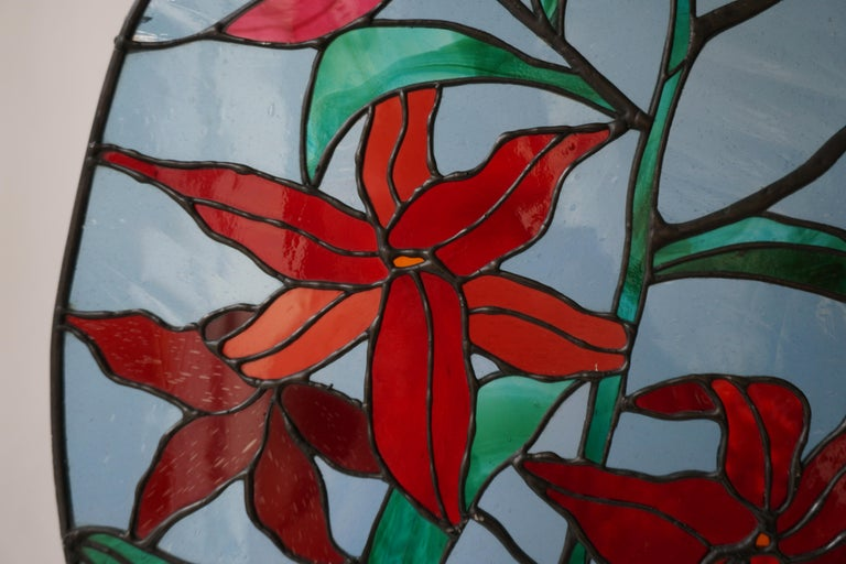 20th Century Rare Stained Glass Window Panel with Red Flowers For Sale