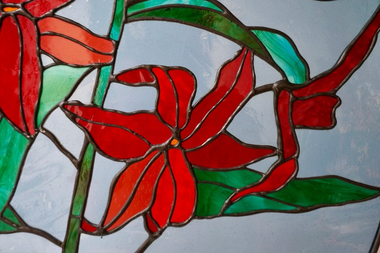 Rare Stained Glass Window Panel with Red Flowers For Sale 1