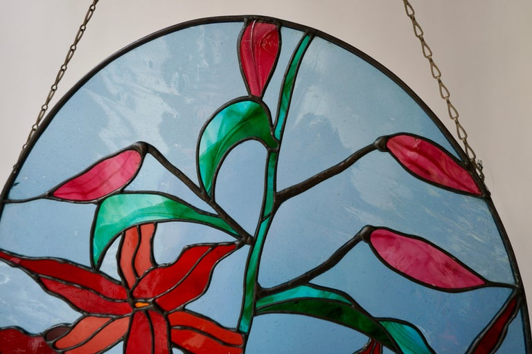 Rare Stained Glass Window Panel with Red Flowers For Sale 2