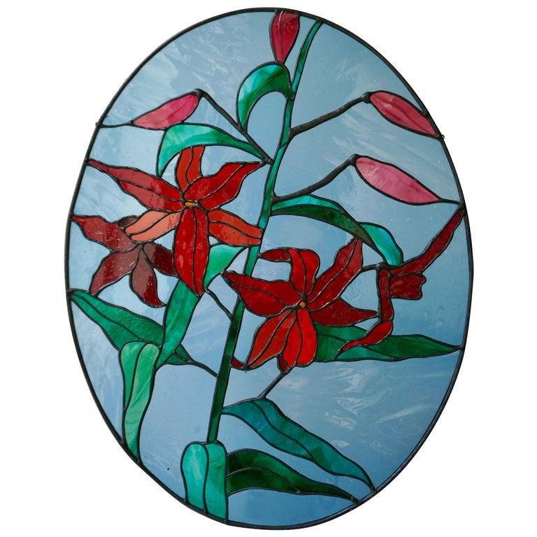 Rare Stained Glass Window Panel with Red Flowers For Sale