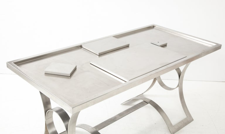Rare Stainless Steel Table with Smoked Grey Glass Top, France, circa 1970 For Sale 8